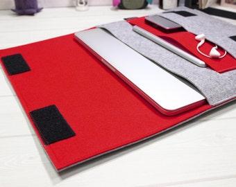 New Macbook Pro case, 13 inch laptop case, laptop sleeve, red laptop sleeve, felt laptop sleeve, grey laptop case, Macbook Air case