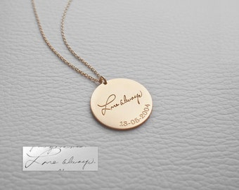 Actual Handwriting Disc Necklace - Personalized Circle Necklaces - Mother Memorial - Bridesmaid Jewelry - LARGE DISC - #PN03.22