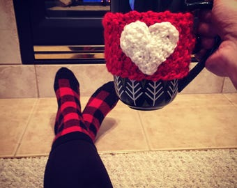 Valentines Day Gift For Her Coffee Sleeve Cup Mug Cozy Heart