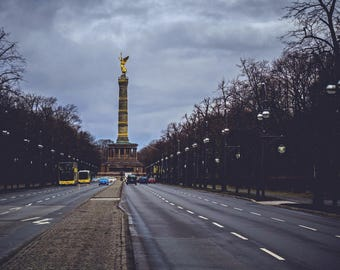 Berlin photography, street photography, Berlin Victory Column, fine art photography, Gold Statue, Berlin photo, wall art, urban photo