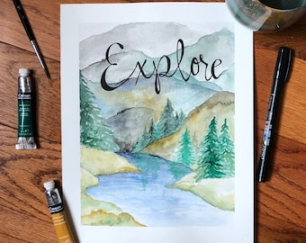 Landscape Watercolor w/ Calligraphic Quote