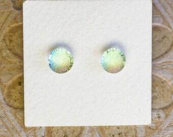 Dichroic Glass Earrings , Petite, Aqua/Red Frosty Top  DGE-1405