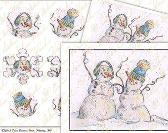 Dancing Snowmen - Digital Collage Sheet - Clip Art - Instant Download - Printable Files - JPG & PDF Formats - Perfect for Crafting
