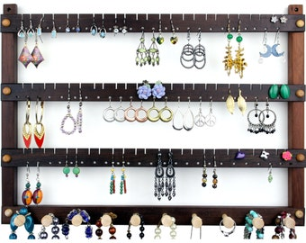 Earring Holder - Wall Mount Jewelry Organizer, Peruvian Walnut Jewelry Display. 72 pair Hardwood Hanging Earring Display with 10 pegs