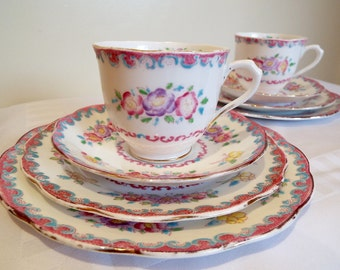 Vintage Royal Albert Crown China Rose Marie Teacup Trio and Cake Plate. Pretty Purple and Pink Roses, Perfect For An Afternoon Tea Party