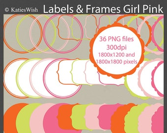 Girl Pink Label Clip Art Kit PNG files CU Instant Download for scrapbooking, party decor, invites