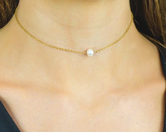 Freshwater Pearl Choker Necklace, Small pearl Necklace, Simple Choker Necklace in Sterling Silver, black silver Gold Filled Rose gold filled