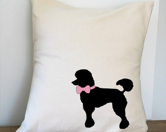 Poodle with Bow Pillow Cover Natural Color Canvas with Black Dog Shape 18x18 Inch Cover Made to Order