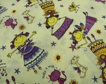 printed cotton fabric happy birthday - multicolored
