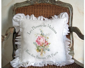 French Pillow Cover. Ruffle Pillow Cover. French Country Pillow Cover. Shabby Chic Pillow. French Floral. French Antiques. Mother's Day Gift