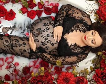 CAMILLE  •sale• lace maternity gown long sleeve floor length black eyelash
