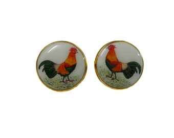 Silver Cufflink with painted meena