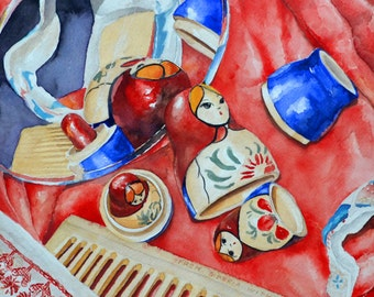 Russian Nesting Dolls Watercolor original (Matryoshki) 16x16 with white mat 20x20