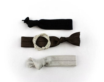 Love Knot Hair Tie Set - 3 Rhinestone and Elastic Hair Ties that Double as Bracelets