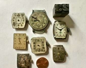 Vintage Wrist Watch Faces with Workings Attached for Steampunk Collage and Crafting