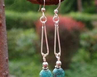 TURQUOISE WATERFALL Coin Simply Swinging Chandelier Earrings - Handmade by Dorana