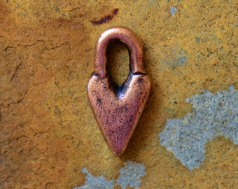 2 Antique Copper Primitive Heart Charm 14.3 x 7.3mm