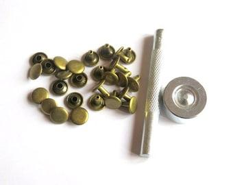 50 rivets bronze metal 10 x 8 mm and tools