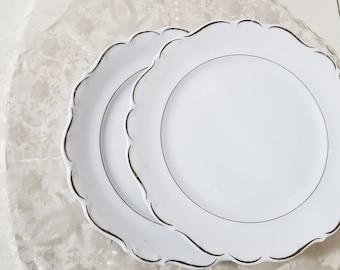 "Schumann Arzberg Germany Platinum ""SCROLL"" Salad Plate"