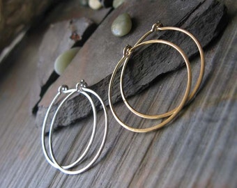 "Set of handmade urban mixed metal 7/8"" hoops. One sterling silver & one 14k gold filled pair. Delicate lightweight earrings. Minimalist."