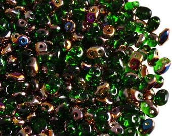 20 gr Czech Two-Hole Seed Beads SuperDuo 2.5x5mm  CHRYSOLITE  SLIPERIT (rk1263)