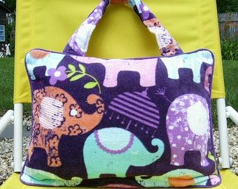 Pillow Beach Pillow Travel Pillow Purple Elephants