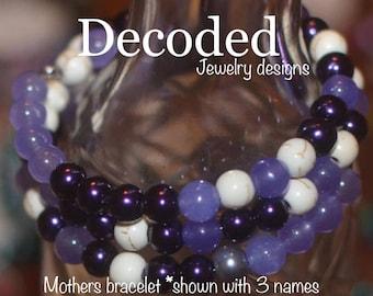 Mothers gift for her // Mothers bracelet // Childrens names // Morse Code // KIDS NAMES // Beaded Bracelet // Boho Jewelry //Customiz