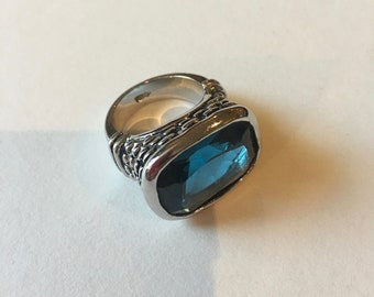 Vintage Silver Ring-Big Teal Stone -Chunky ring-Him Or Her