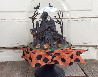 AGD Halloween Decor - Lighted Haunted House Cloche