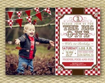 1st Birthday Invitation, Western BBQ 1st Birthday Invite, First Birthday BBQ Picnic Invitation, Western BBQ Birthday Invitation, Any Age