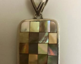 Sterling Silver 0.925 Mother of Pearl Inlay Pendant