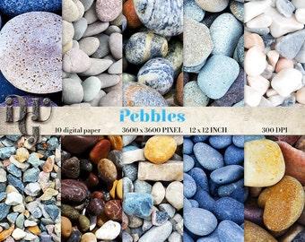 Pebbles Digital Paper, Stone Digital Paper, Natural Beach Pebbles, Beach Pebbles Pattern Textures, Stone Texture, Stones Paper Pack  # 117