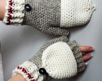 Work Sock Glittens Crochet Pattern Convertible Mittens Gloves Fingerless Wool Bottom Up Ribbed Cuff Button Classic Women's Grey Fun Textured