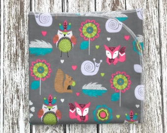 Ready to ship! Gray Woodland Receiving Blanket, Girls Receiving Blanket, Forest Baby Blanket