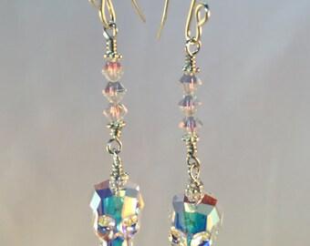 Skull Earrings| Swarovski Crystal Skull| Crystal Skull| Earrings| Skull Crystal Earrings|