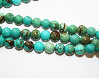 Turquoise Round Beads,  - 8mm - 50ct -  #D178