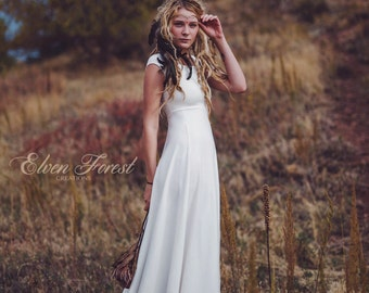 Simply Bohemian ~ Wedding Dress ~ Elven Forest, Bride, Gypsy, Faery, Boho Dress, Ivory, White Love