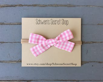 Pink gingham baby bow, hand tied bow, baby girl headband, nylon headband, baby hair bow, baby bow headband, school girl bow, baby bows
