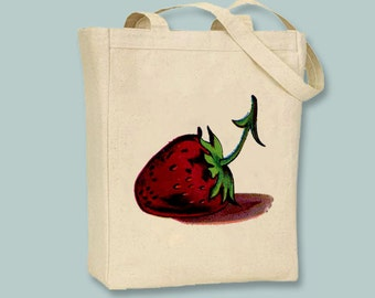 Vintage Strawberry illustration on Canvas Tote -- Selection of sizes available
