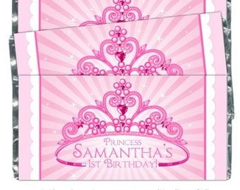 Princess Birthday Candy Wrappers, Princess Candy Wrappers, 1st Birthday Princess Favors, Princess Wrappers, fit over 1.55 oz chocolate bars