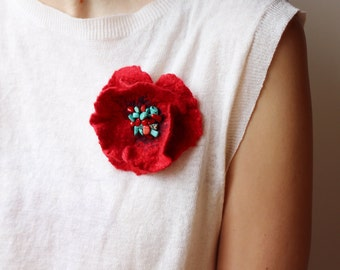 Red Poppy Brooch, Wool Flower Brooch, Turquoise Brooch, Christmas Brooch, Art Brooch, Bridesmaid Gift, Minimalist Jewelry, Designer Jewelry