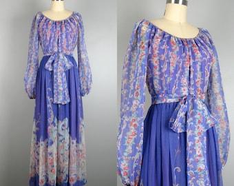 Vintage 1970s Chiffon Dress 70s Purple Printed Chiffon Maxi Dress Size M