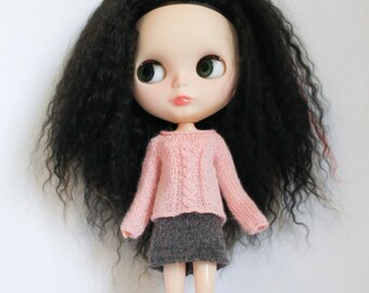 Blythe doll Daisy Sweater knitting PATTERN - cables short or long sleeve for Neo - instant download - permission to sell finished items