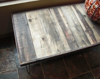 25% OFF Sale  - Wide Barn Wood Coffee Table - Modern Reclaimed Rustic Wood with Vintage Steel Hairpin Legs