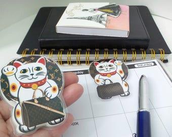 Maneki-Neko Page Louis Vuitton Inspired Maneki-Neko Magnetic Bookmark | Bookworms | Planner Addict Accessories