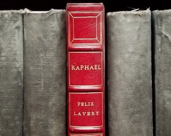 Leather bound book, History of Art book Raphael by Felix Lavery vintage 1920s book