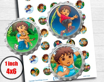 """Go Diego Go Digital Collage Sheet  Disney 1"""" inch 25mm Bottlecap Printable Image Download for pendants magnets party cupcake toppers"""