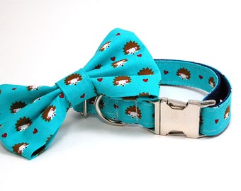Handmade Dog Collar and Bow Tie Set - Hedge Hogs in Blue - Custom Made Hedgehog Dog Collar with matching bowtie and hearts