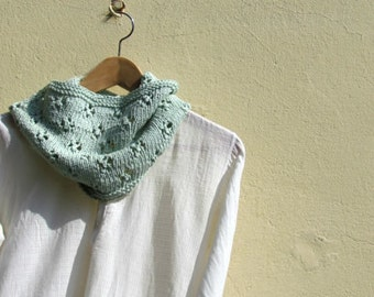 Mint green infinity scarf / Knitted vegan cowl / Cotton lace scarf / Romantic scarf