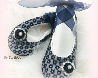 Navy Blue Flats, Ivory, Ballet Flats, Wedding Flats, Shoes, Lace Flats, Vintage Style, Ballet Slippers, Mother of the Bride,  Flower Girl